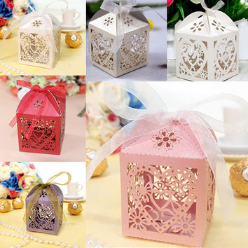 25Pcs Pack Love Heart Favor Ribbon Gift Box Candy Boxes Wedding Party Decor #88330