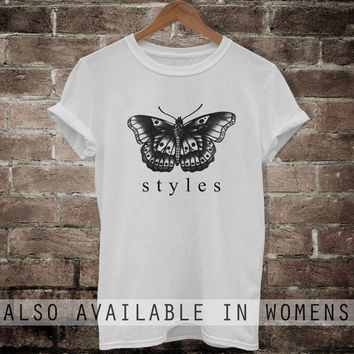 Harry Styles tattoo shirt Butterfly One Direction t-shirt men women clothing MTAB72