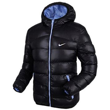"""NIKE"" Men Fashion Long Sleeve Cardigan Bread Down Coat Cotton Jacket Windbreaker Hoodie"