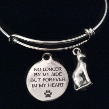 No Longer By My Side But Forever in My Heart 3D Cat Silver Expandable Charm Bracelet Adjustable Wire Bangle Memorial Gift Kitten