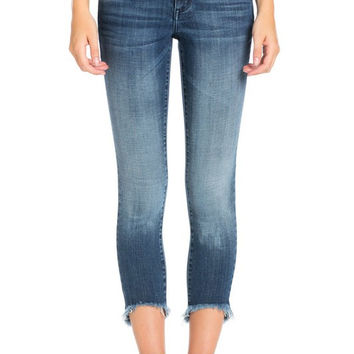 Cello Raw High-Low Hem Cropped Skinny Jeans