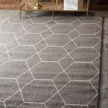 0173 Gray Moroccan Trellis Contemporary Area Rugs