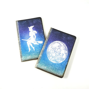 Set of 2 Pagan Journals, Halloween Notebooks, Witch's Spell Books, Stars, Dreams Journal, Starry Night Sky Jotters, Potion Recipe Books