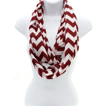 Chevron Burgundy Infinity Scarf Pattern on Both Sides Spring Lightweight  with Free Embroidery