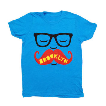 YOUTH / Brooklyn Mustache  Kids Neon Blue by GnomEnterprises