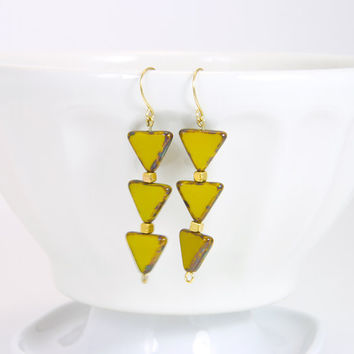 Lemon Slices Triangles Earrings -  Geometric Tangerine Earrings -  Spring jewelry  bright colors
