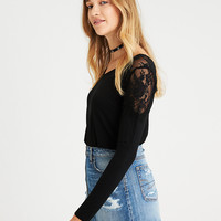 AE Lace-Shoulder V-Neck Top, True Black