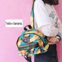 Fashion women and man Yellow banana print bag backpack zipper(5 color)