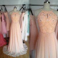 Long Light Peach Prom Dress, Backless Prom Dresses Formal Dress Evening Dress Wedding Party Dress 2015