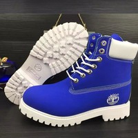 Timberland Rhubarb boots for men and women shoes waterproof Martin boots lovers Sapphire blue-white