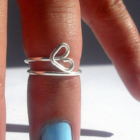 Open Heart  Above Knuckle Ring - Kuckle Rings- Above Knuckle Open Heart Ring -  by Tiny Box