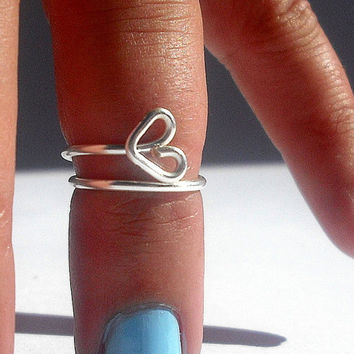 Gift  - Double Rings - Open Heart  Above Knuckle Ring - Kuckle Rings- Above Knuckle Open Heart Ring -  by Tiny Box