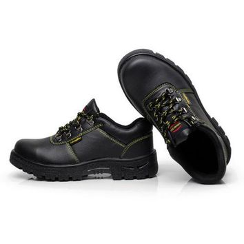 MENS' Work Safety Shoes Boots Full Grain Leather Gusset Tongue 025