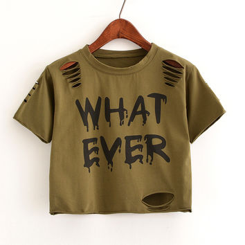 WHAT EVER Short Sleeve Crop Top [11089185167]