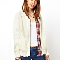 ASOS Lined Bomber Cardigan In Blocked Stitch