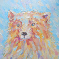 Bear oil soft pastel painting Living room decor gift idea House warming gift classical animal abstract art eye catching child room nursery