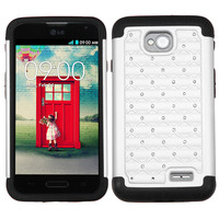 MYBAT Lattice Armor Case for LG Optimus L70 (Exceed 2) - White/Black