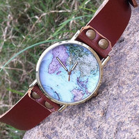 Handmade leather band watch students love watches map of fashion watches