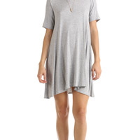 SHORT SLEEVE FULL SWING DRESS - HEATHER GREY