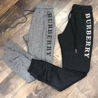 PEAPON Burberry Casual Letter Embroidery Trousers Pants Sweatpants