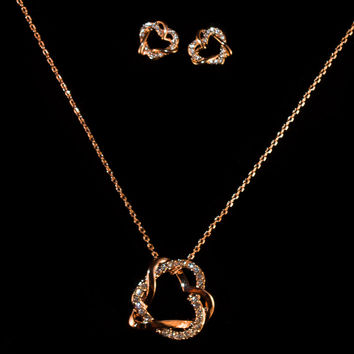 Rose Gold Crystal Heart Earring & Necklace Set