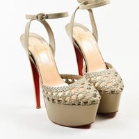 KUYOU Christian Louboutin Taupe Leather Woven Ultra High Platform Sandals