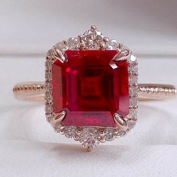 Ruby Engagement Ring 8mm Cultured Asscher Cut Ruby in a 14k Rose Gold Diamond Halo Setting