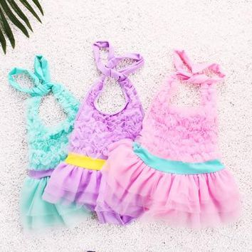 2016 Swimsuit Girl Toddler Bathing Suits Bikinis 1 Pieces Kids Swimwear lace printing  mix color lovely Clothes Swimming suits