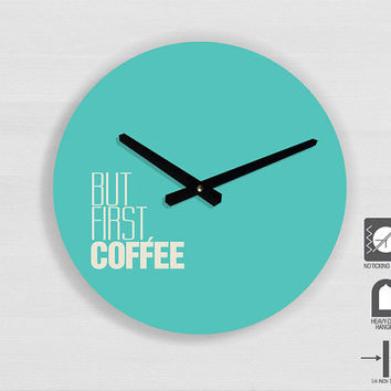 "Kitchen Art - Coffee Quote Typography wall clock - 11"" Diameter - No Ticking Sound"
