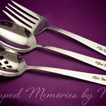 Bless Our Table - Hand Stamped Personalized Service Set - Hostess Gift - Serving Utensils - Thanksgiving Housewarming Present - Silverware