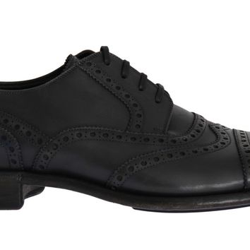 Gray Leather Wingtip Oxford Shoes
