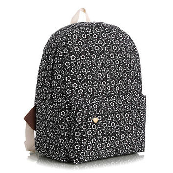 Korean Striped Floral Stripes Animal Canvas Lovely Cute Backpack = 4888006276