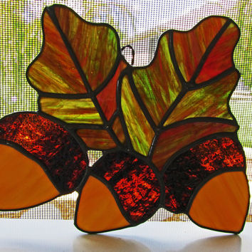 Acorns and Autumn Leaves ~ Stained Glass Sun Catcher ~ Home Decor ~ Wall Decor ~ Fall Decor ~ Garden Decoration