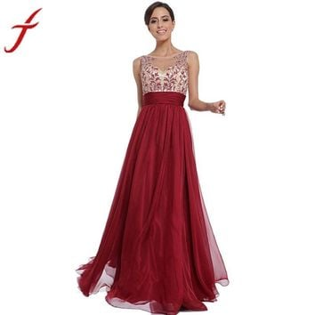 red Elegant printing women high waist charming maxi ball gown formal o neck casual a line party bodycon dress