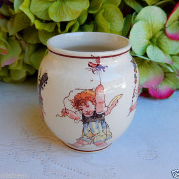 Sarreguemines French Faience Pottery Enfants Richard Kate Greenaway Jar Child #2