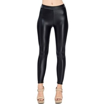 Solid Faux Leather Shiny Matte Leggings