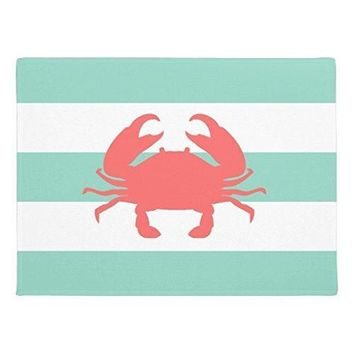 "Autumn Fall welcome door mat doormat Front  Mint and Coral Nautical Stripes and Crab  Outdoor Indoor Rug 15 x 24"" AT_76_7"