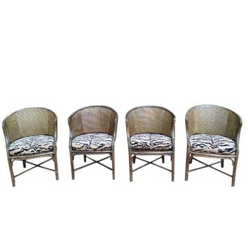 Pre Owned Vintage McGuire Rattan Barrel Chairs   Set Of 4