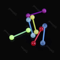 6pcs/lot Mixed Color Noctilucent Acrylic Tongue Nipple Bar Ring Barbell Body Piercing