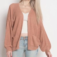 dreamers - lightweight open cardigan with balloon sleeves - dust coral