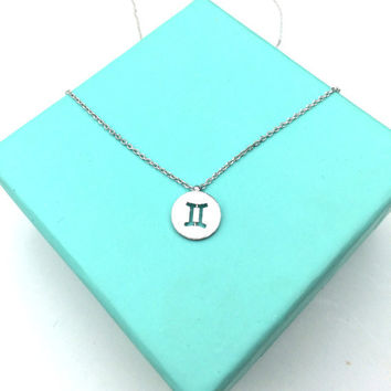 Dainty Circle Coin Zodiac Gemini Necklace Signs 12 Constellation Necklace