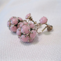 Pink Multi-Stone Ball Dangle Earrings