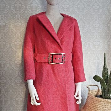 Vintage 1960s Mod + Raspberry Pink Wool Coat