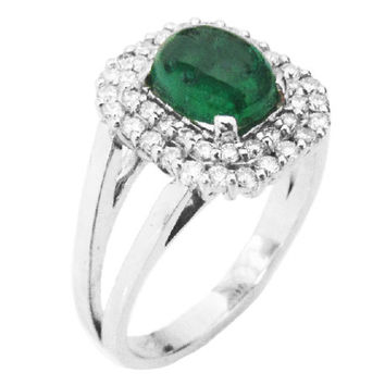 Emerald ring, Cabochon Emerald, ring with double frame pave Diamonds