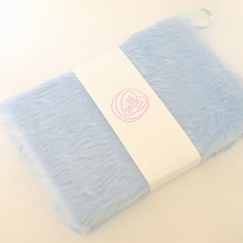 A5 large baby blue fur notebook