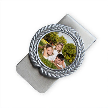 Custom Photo Money Clip (with field crest frame) - Great for any Father - Pewter
