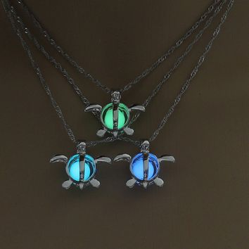 Green, Blue, Sky Blue Turtle Glow In The Dark Necklace Pendant