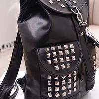 Fashion Punk Style Rivet Fringed Backpack