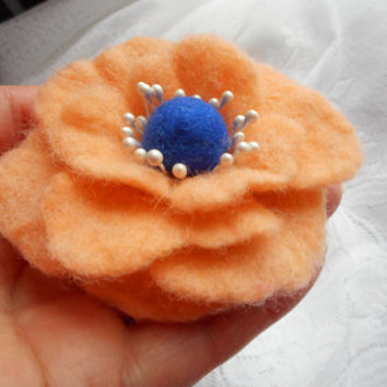 Flower brooch, Felt brooch,Orange jewelry,hair flower hair clip handmade,corsage,Orange Felt flower brooch poppies, mothers day gift for her