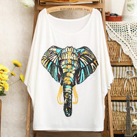 Elephant Batwing T-shirt For Women